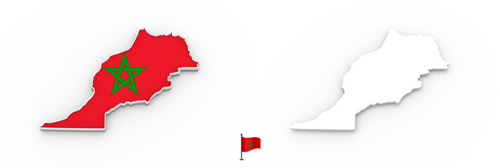 3D map of Morocco white silhouette and flag