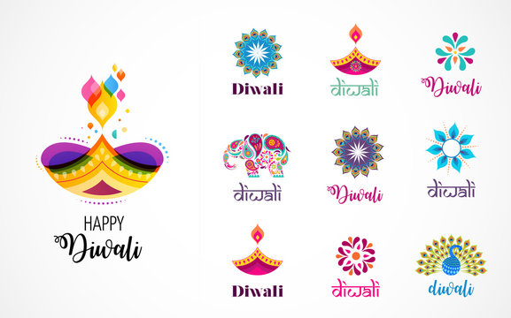 Happy Diwali Hindu festival icons, elements, logo set. Burning diya illustration, light festival of India