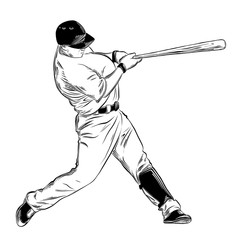 Hand drawn sketch of baseball batter in black isolated on white background. Detailed vintage style drawing. Vector illustration