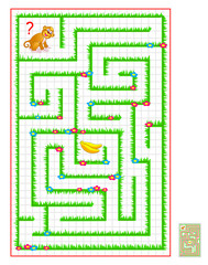 Logic puzzle game with labyrinth for children and adults on square paper. Help the monkey find the way till banana. Draw the line. Vector cartoon image.
