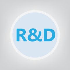 R&D (Research and development) acronym- vector illustration