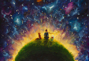 Original oil painting Little prince and fox and Red Rose sitting on grass under starry sky. Colorful illustration. Wall mural