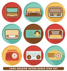 Radios - Long Shadow Retro Icon Set