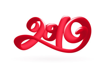 Vector illustration: Handwritten 3d calligraphic number lettering of 2019 on white background. Happy New Year