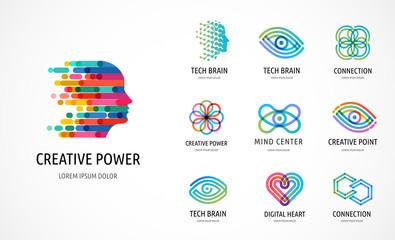 Obraz Brain, Creative mind, learning and design icons, logos. Man head, people symbols - stock vector - fototapety do salonu