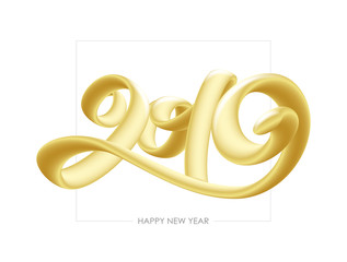 Vector illustration: Golden 3d calligraphic number lettering of 2019 on white background. Happy New Year
