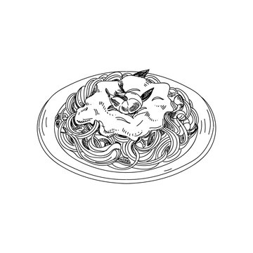 Vector hand drawn spaghetti with sauce and shrimps.