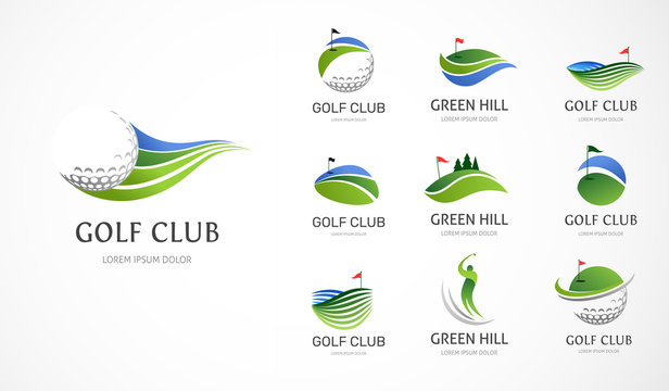 Golf club icons, symbols, elements and logo collection