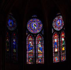 Photo sur Plexiglas Vitrail Notable stained-glass windows of biblical scenes of Ornate, 13th-century, Gothic chapel Sainte-Chapelle, Paris