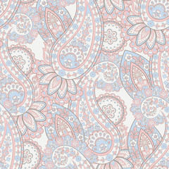 Paisley Floral pattern. Indian, damask seamless wallpaper. Vector background