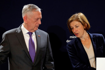 French Minister of the Armed Forces Florence Parly and US Secretary of Defense James Mattis attend a news conference at the Defence Ministry in Paris