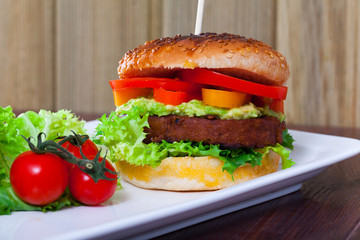 Tasty healthy vegetarian hamburger