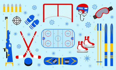 Winter sports equipment set. Skiing, ice hockey, snowboarding, biathlon, skating isolated icons. Blue snowflakes background. Flat style. Winter outdoors collection. Vector sporting design elements.