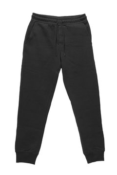 Blank training jogger pants color black front view on white background