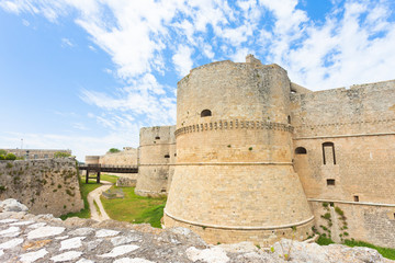 Otranto, Apulia - A historical defense tower as part of the city wall of Otranto in Italy