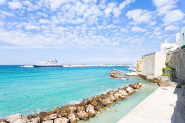 Otranto, Apulia - Sunbathing at the quay of Otranto in Italy