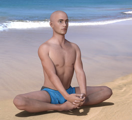 Bald man in blue briefs practising the butterfly or baddha konasana yoga pose on a sandy beach. 3d render.
