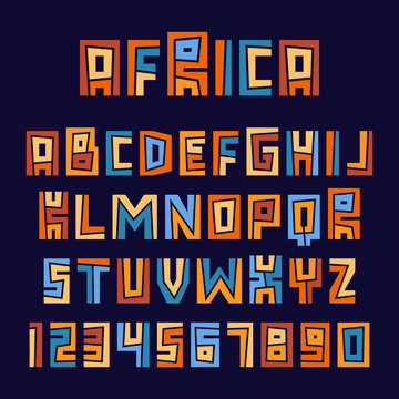 Set of ethnic letters and numbers. Vector graphic alphabet symbols.