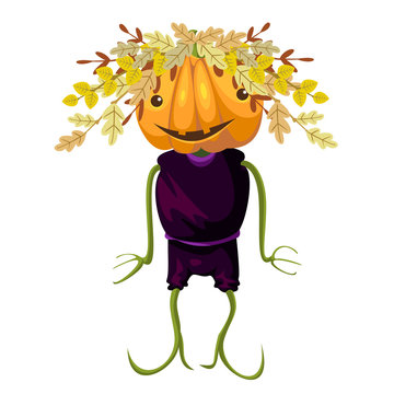 Happy Halloween. Jack - pumpkin head. Decoration with autumn branches. Vector.