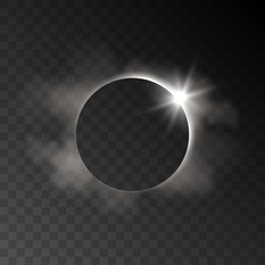 Vector realistic eclipse transparent effect with clouds and light rays on dark background