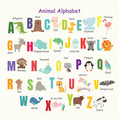 Set of cute animal alphabet.