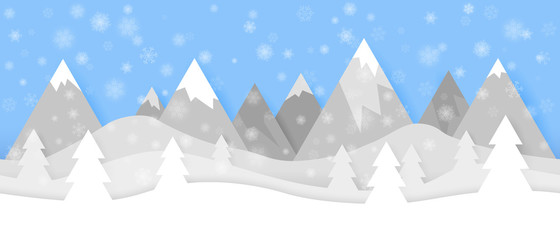 Simple seamless paper cut winter vector landscape with snowflakes, layered mountains and trees on blue background.
