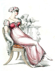 Woman in old fashion dress