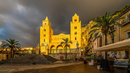 Wall Mural - The Cathedral of Cefalu in golden sunset light after rain, Sicily island, Italy