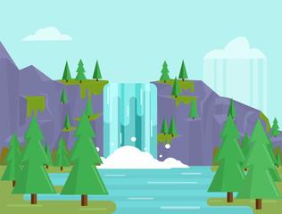 Beautiful flat waterfall landscape