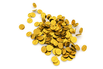 Bunch or pile of illustrative gold coin, background isolated on white. Effect, creative, canvas & decoration.