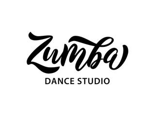 Zumba dance studio text. Calligraphy word banner design. Aerobic fitness. Vector Illustration