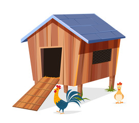 Chicken coop with hen and rooster