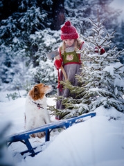 Little girl and her dog finding christmas tree in the forest in deep snow