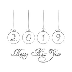Hand drawn Christmas decoration with balls and text lettering Happy New Year. Isolated on white background. Vector.