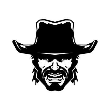 Cowboy mascot. Illustration isolated on background. Vector illustration, eps 10.