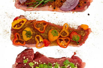Meats deliciously seasoned with vegetables