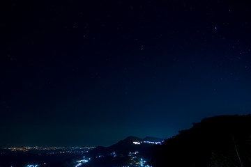 Star and mountain on the night sky.
