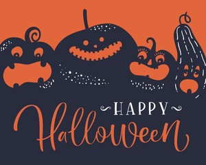 Halloween Pumpkins. Handwritten lettering. Vector illustration.