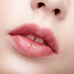 Closeup macro portrait of female part of face. Human woman lips with day beauty makeup. Girl with perfect lips shape