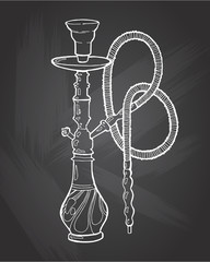 Shisha, hookah hand drawn doodle vector .Illustration isolated on chalkboard for hookah bar or lounge. vector illustration of hookah with smoking pipe, hubble bubble, oriental bar.