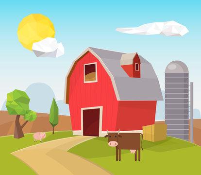 Low poly barn landscape