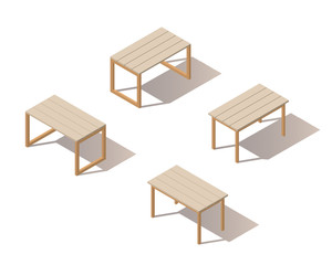 Set of the isometric wooden tables. The objects are isolated against the white background and shown from different sides. Isometric vector tables.