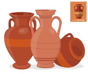 Fototapeta Old amphora vase set obraz