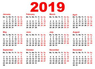2019 year calendar template grid pocket horizontal orientation