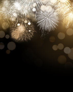 Gold Glittering Fireworks Display Background