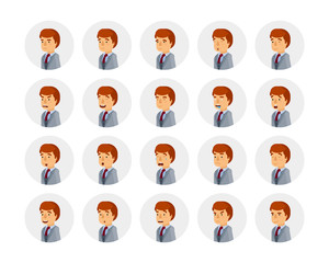 Vector young adult man avatars and emoticons set in flat style, side view.