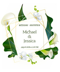 Flowers. Wedding invitation. Orchids. Floral background. Callas. Green leaves. Flower pattern. Bouquet. Frame.