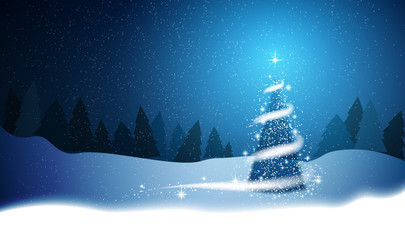 Christmas tree, blizzard, stars, snow,  sky, night, wood, blue background for New Year project. Winter background