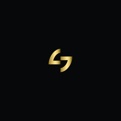 Initial Solid Letter SS Logo Design Using Letter S in Gold and Black Color