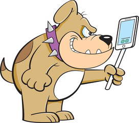 Cartoon illustration of an angry bulldog holding a cell phone.